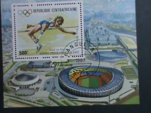 CENTRAL AFRICA-1987- OLYMPIC GAMES - JUMP HIGH- CTO S/S VERY FINE