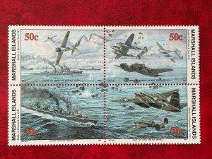 1993 Marshall Islands 4 Stamp Block #331-334 WWII Battle Of Bismarck Sea MNH