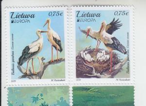 2019 Lithuania National Birds (2) Europa (Scott NA) MNH