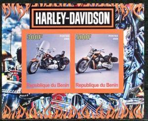 Benin 2008 M/S Harley Davidson Motorbike Transport Mortor Bike Stamps MNH imperf