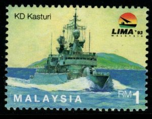 MALAYSIA SG518aw 1993 1r MARITIME WMK TOP OF SPM TO RIGHT MNH