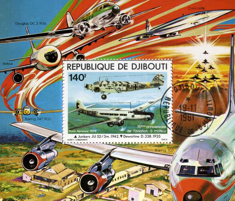 Djibouti 1979 Power Flight Anniversary Souvenir Sheet Perforated Canceled