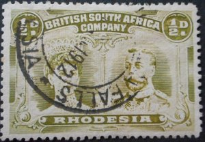 Rhodesia Double Head ½d with VICTORIA FALLS (DC) postmark