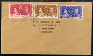 British Virgin Islands 1937 KG6 Coronation set of 3 on co...
