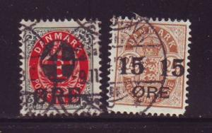 Denmark Sc 55-6 4 & 15 ore overprint stamps used