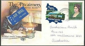 NORFOLK IS 1986 Uprated 27c envelope with 15c self adhesive to Melbourne...77350