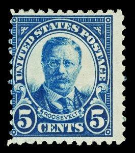 Scott 557 1922 5c Roosevelt Flat Plate Mint Avg-Fine OG HR Cat $16