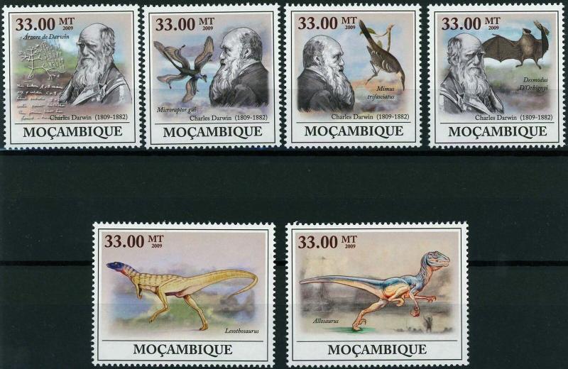 Mozambique MNH Charles Darwin Dinosaurs 2009