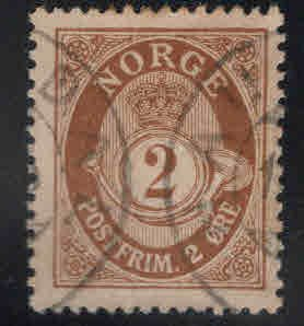 Norway Scott 75 Used Post Horn stamp