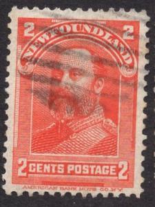 Newfoundland  #82  used   1897  Edward VII  2 c  red