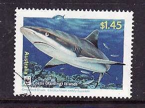 Cocos (Keeling) Is.-Sc#343-used $1.45 Gray Reef Shark-Marine Life-WWF-2005-