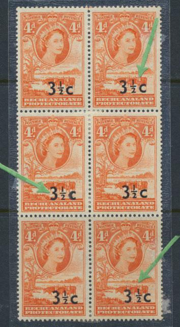Bechuanaland  SG 161d  Type III  MUH Block with Opt Varieties - see details