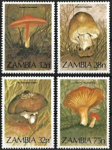 1984 Zambia Mushrooms, Funghi, Champignons complete set VF/MNH! LOOK!