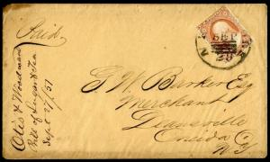 #10 SEPT 28,1851 NEW YORK CANCEL ON COVER BM7228