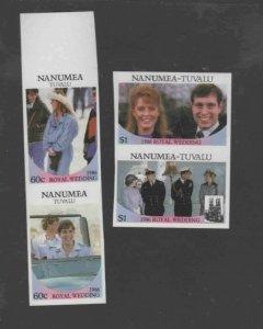 TUVALU-NANUMEA #65-68 1986 WEDDING OF PRINCE ANDREW IMP. PRS MINT VF NH O.G