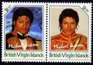 VIRGIN ISLANDS 1986  Unissued$1.50 Michael Jackson se-tenant pair  MNH