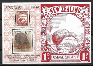1988 New Zeland Sc930d $10 Little Spotted Kiwi MNH S/S