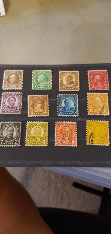 US Scott 658-668 MNH and Used