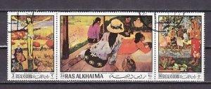 Ras Al Khaima, Mi cat. 392-394 A. P. Gauguin Paintings. Canceled. ^