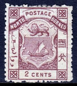 NORTH BORNEO — SCOTT 10 (SG 10) — 1886 2¢ BROWN COAT OF ARMS — MH — SCV $37.50