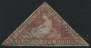 Cape of Good Hope Triangle 1863 1d dark carmine used Scott #12