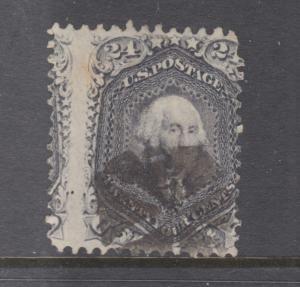 US Sc 78a used. 1862 24c gray lilac Washington, vertical misperf
