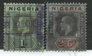 Nigeria KGV 1914 1/ and 2/6d used