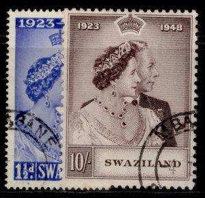 SWAZILAND GVI SG46-47, ROYAL SILVER WEDDING set, FINE USED. Cat £46.