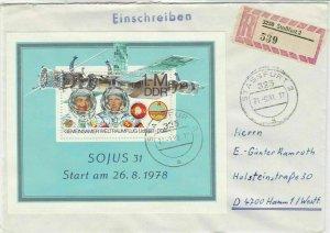 German DDR 1983 Regd Stassfurt Cancels Soyuz 31 Space Expl Stamp Cover Ref 30157