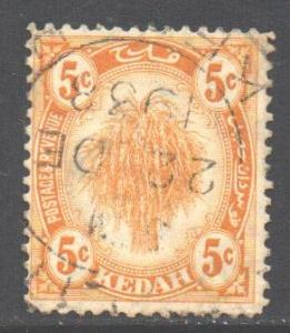 Malaya Kedah Scott 30 - SG55, 1922 Wheatsheaf 5c used