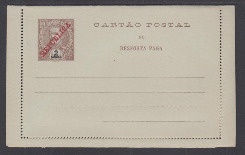 Portuguese India H&G A13 mint 1911 2 + 2t Postal Reply Double Card, VF+
