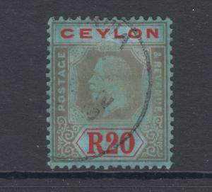Ceylon Sc 244 used. 1921 20r King George V issue, Die II, on blue chalky paper