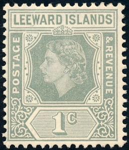 Leeward Islands 1954 1c Grey SG127 MH