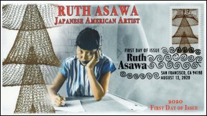 20-182, 2020, Ruth Asawa, First Day Cover, Pictorial Postmark, Japanese American