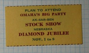 Omaha's Big Party Stock Show Diamond Jubilee Company Brand Ad Poster Stamp