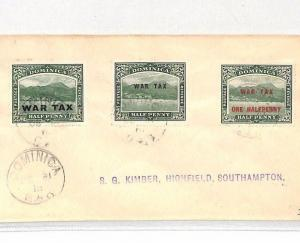 DOMINICA Cover 1918 WW1 Southampton *WAR TAX* Mixed Franking BH35