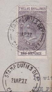 NEW ZEALAND 1880 Stamp Duty 12/6d fine used on piece........................6686