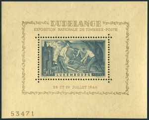 Luxembourg 132,hinged.Michel 412 Bl.6. EXPO Dudelange-1946.Old Rolling Mill.