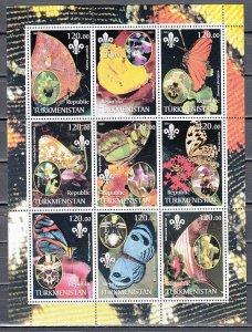 Turkmenistan, 2001 Russian Local. Butterflies & Orchids sheet. ^