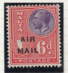 Malta 1928 Early Issue Fine Mint Hinged 6d. Air Mail Optd 321597