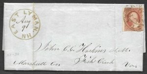 Doyle's_Stamps: 1851 New Hampshire to Virginia Postal History Cover w/Scott #10