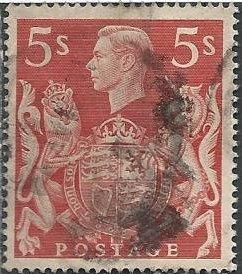 Great Britain 250 (used) 5sh George VI & Royal Arms, dull red (1939)