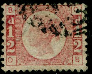 SG49, ½d rose PLATE 6, USED. Cat £25. OB
