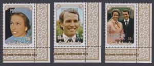 Penrhyn Royal Wedding Princess Anne 3v Corners with margins SG#53-55 SC#47-49