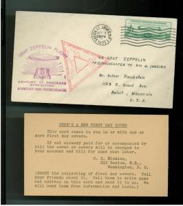 1933 Graf Zeppelin # C 18 first day Cover to Brazil FDC