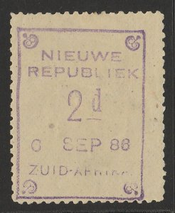 TRANSVAAL - NEW REPUBLIC 1886 (6 Sep) 2d violet on yellow paper.