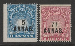 BRITISH EAST AFRICA 1894 Light & Liberty Surcharge set 5a/8a & 7½a on 1R.