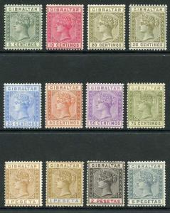 Gibraltar QV SG22/33 Set of 12 Mounted Mint