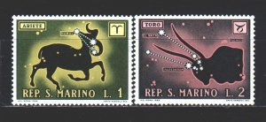 San Marino. 1970. 942-43 from the series. Zodiac signs. MNH.