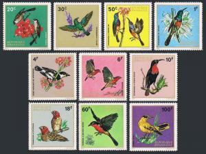 Rwanda 457-66,MNH.Michel 500-509. Birds,Flowers 1972.Waxbill,Sunbirds,Oriole,